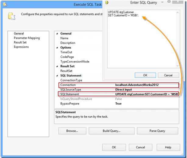 Configuration et écriture de la requête Update du comporant Execute SQL Task