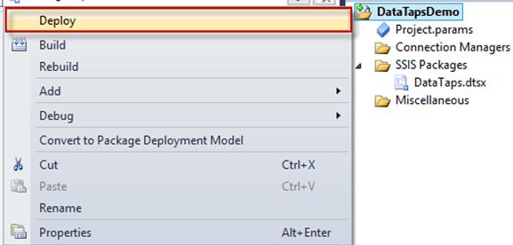 Deploiement de la solution dans le catalog SSIDB