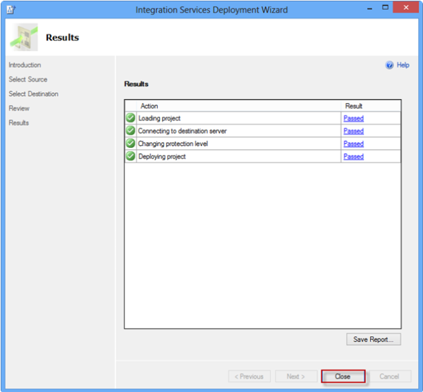 Integration Services Deployment Wizard Results