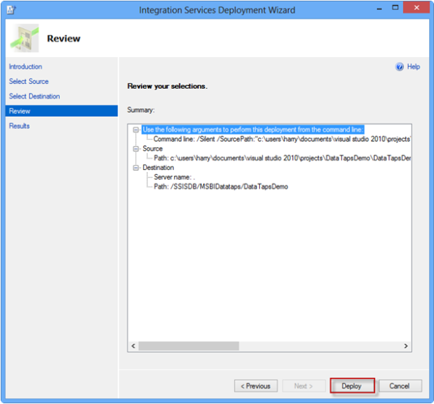 Integration Services Deployment Wizard Review