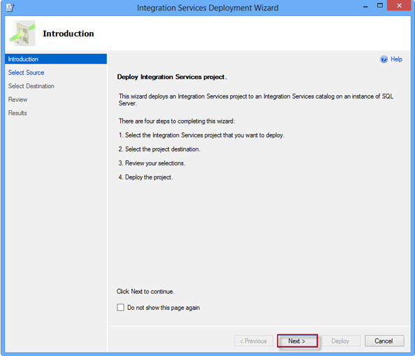Integration Services Deployment Wizard