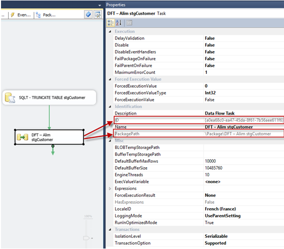Valeur de l'attribut PackagePath du Data Flow Tasks