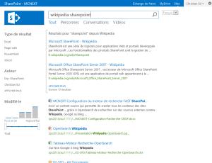Recherche Wikipédia SharePoint