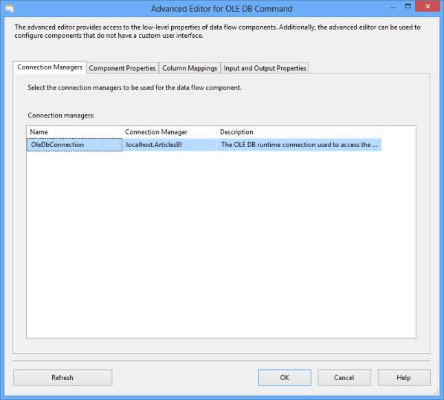 Comporant pour la mise a jour - OLE DB Command
