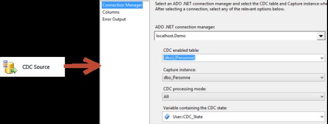 Composant CDC Source Configuration