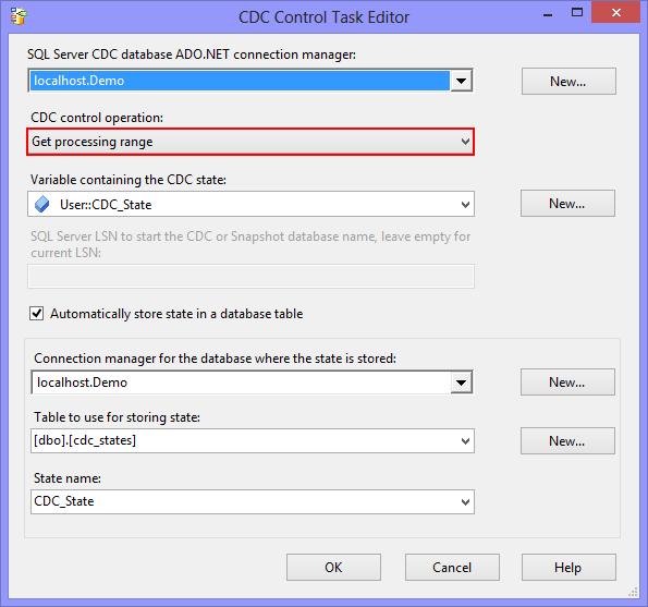 Configuration de la tache CDC Control Task Get processing range