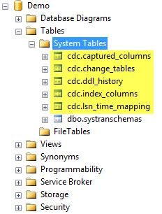 Tables crées apres l'activation du CDC pour la base