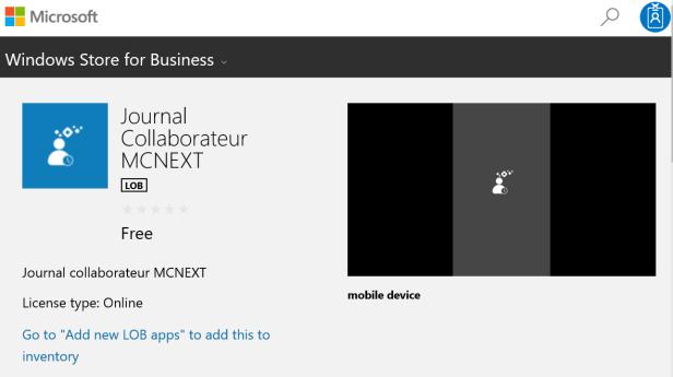 Business Store LOB app detail