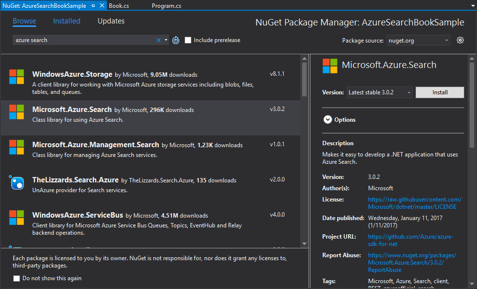 AzureSearchNugetPackage